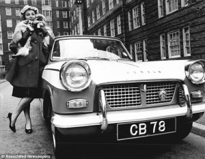 Katie Boyle and her  Triumph Herald